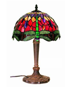 Tiffany-style Purple/Red Dragonfly Lamp