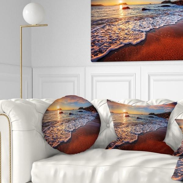 Designart 'Stunning Ocean Beach at Sunset' Seashore Throw Pillow