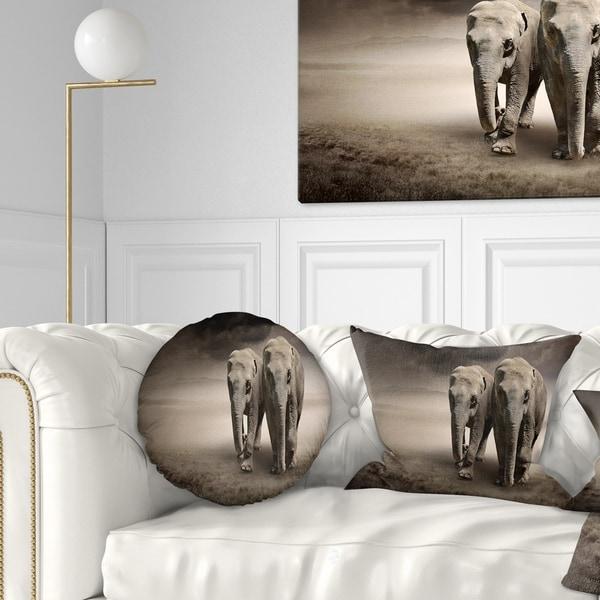 Designart 'Elephant Pair in Motion' Animal Throw Pillow