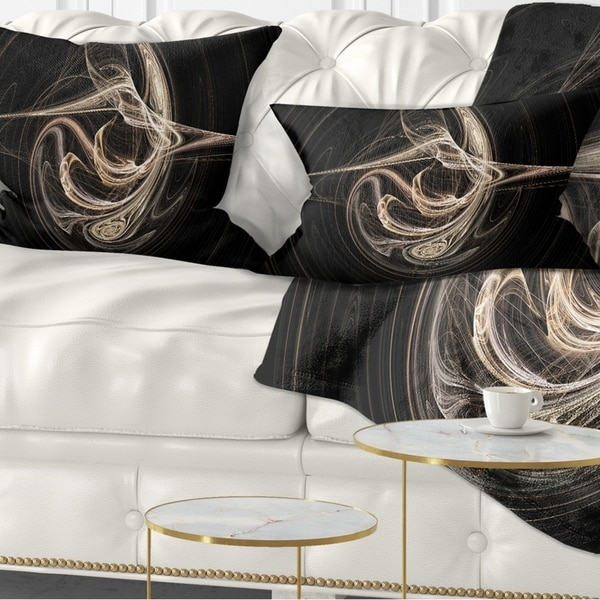 Designart 'White Abstract Fractal Design in Black' Abstract Throw Pillow