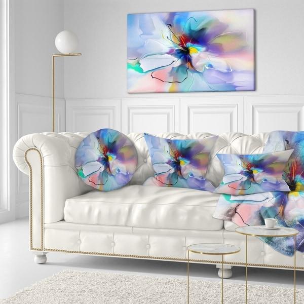 Designart 'Abstract Creative Blue Flower' Floral Throw Pillow