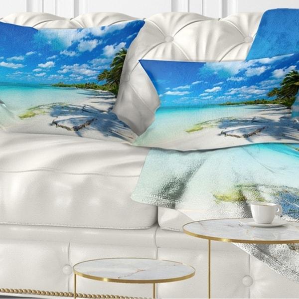 Designart 'Tropical Beach with Palm Shadows' Seashore Throw Pillow