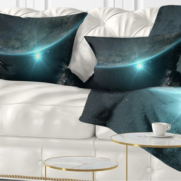Designart 'Sunrise in Earth from Space' Contemporary Landscape Printed Throw Pillow