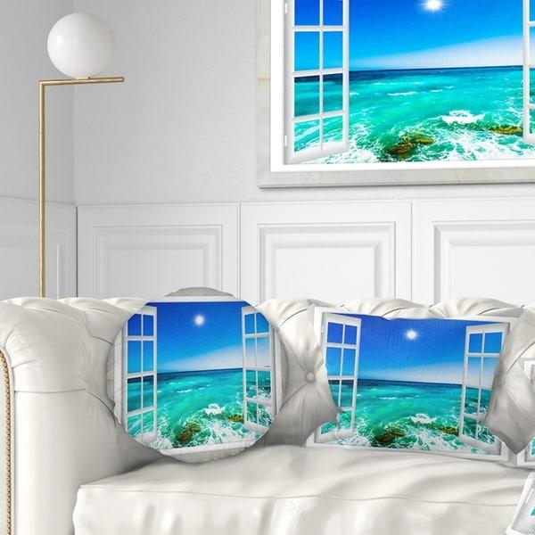Designart 'Open Window to Wavy Ocean' Seashore Throw Pillow