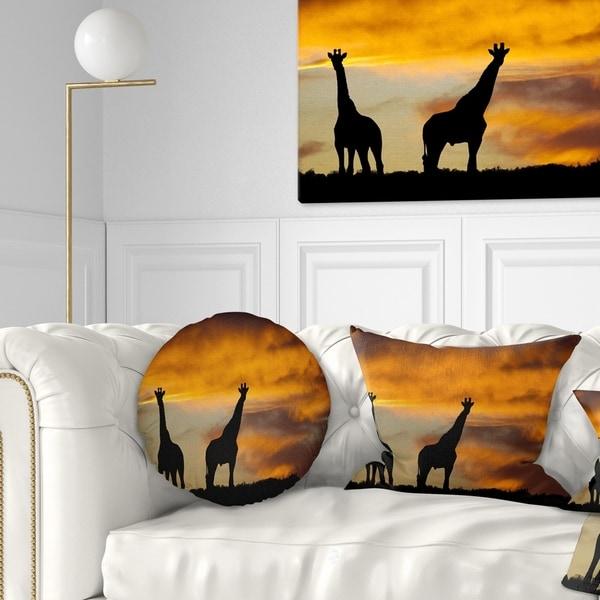 Designart 'African Wildlife Silhouette' African Throw Pillow