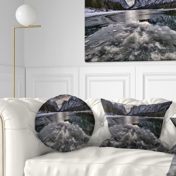 Designart 'Black Icy Mountain Lake with Snow' Contemporary Landscape Printed Throw Pillow
