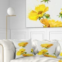 Designart 'Beautiful Yellow Flowers on White' Floral Throw Pillow