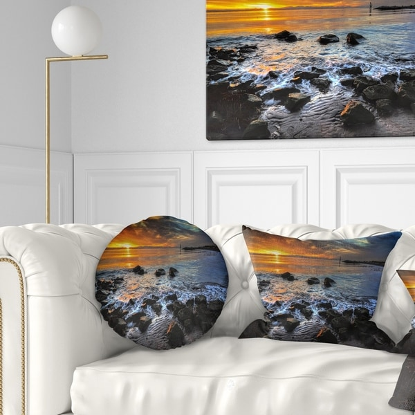 Designart 'Sunset over Rocky Ocean Shore' Landscape Printed Throw Pillow