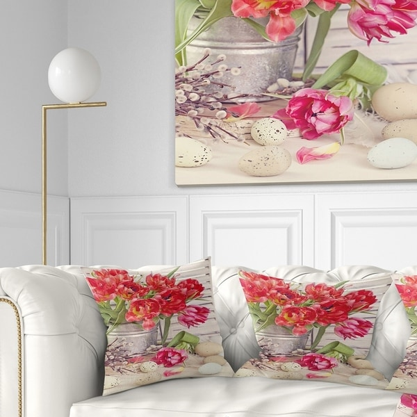 Designart 'Tulip Flowers and Easter Eggs' Floral Throw Pillow