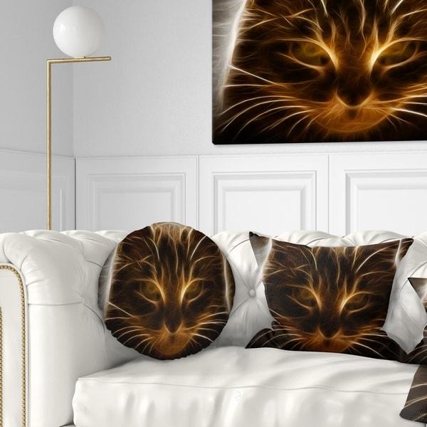 Designart 'Glowing Fractal Cat Illustration' Animal Throw Pillow