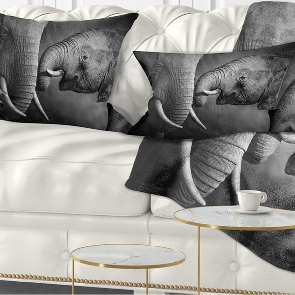 Designart 'Elephants Showing Affection' Abstract Throw Pillow