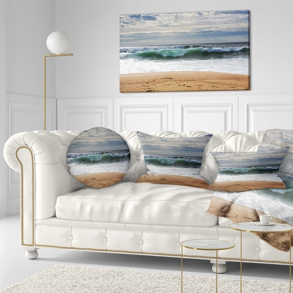 Designart 'Large Blue Waves and Blue Sky' Seashore Throw Pillow