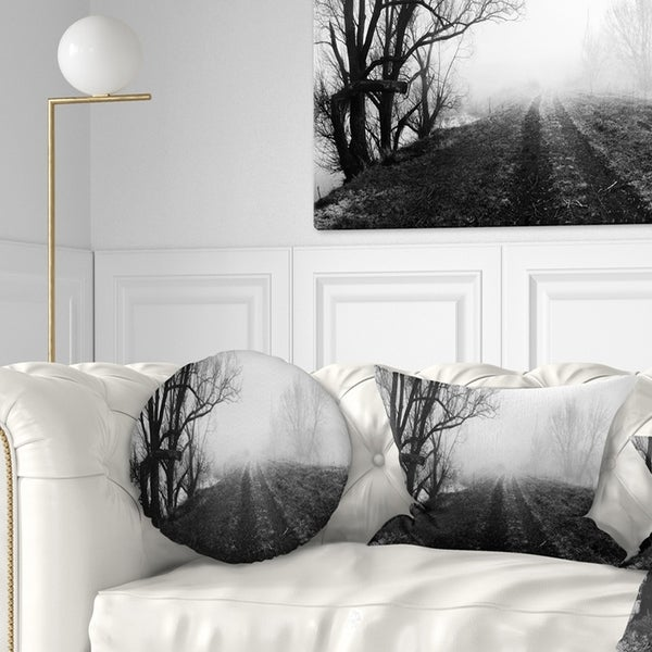 Designart 'Black and White Misty Landscape Panorama' Landscape Printed Throw Pillow