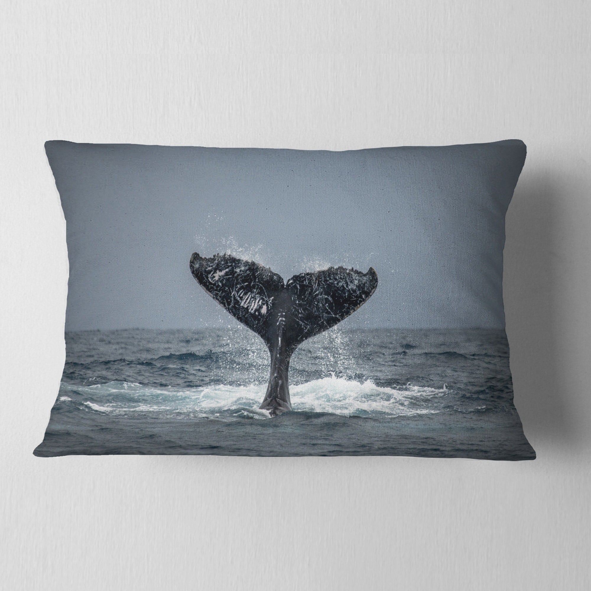 Designart Large Humpback Whale Tail Animal Throw Pillow On Sale Overstock 20890820