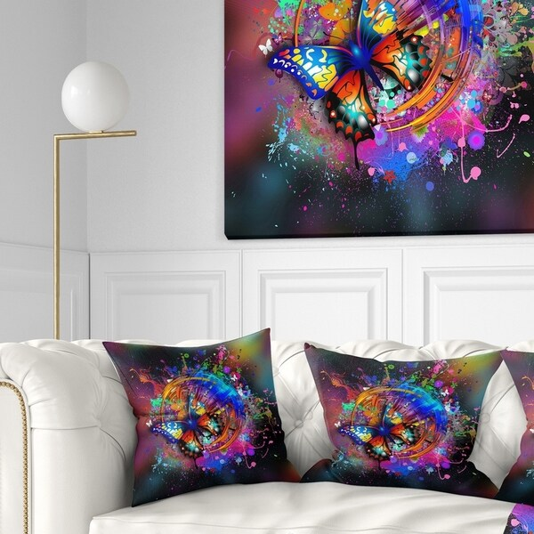 Designart 'Butterfly over Abstract Background' Abstract Throw Pillow