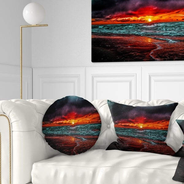 Designart 'Red Sunset over Blue Waters' Seascape Throw Pillow