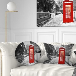 Designart 'Red London Telephone Booth' Cityscape Throw Pillow (More options available)