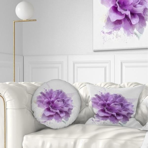Designart 'Purple Rose Watercolor Illustration' Floral Throw Pillow