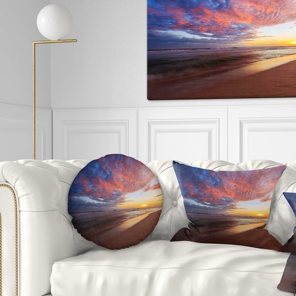 Designart 'Colored Clouds in Beach at Sunset' Seashore Throw Pillow