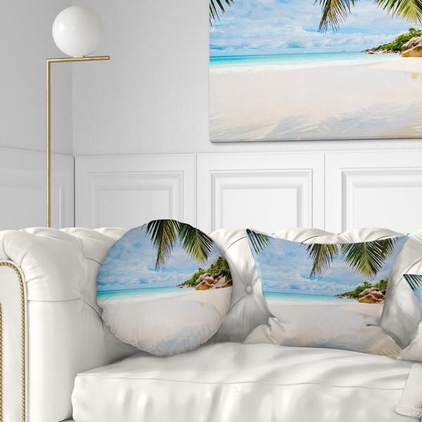 Designart 'Summer Beach with Palm Leaves' Modern Seascape Throw Pillow