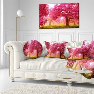 Designart 'Mysterious Red Cherry Blossoms' Landscape Printed Throw Pillow