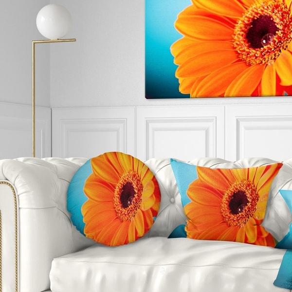 Designart 'Orange Daisy Gerbera Flower Close up' Flowers Throw Pillowwork