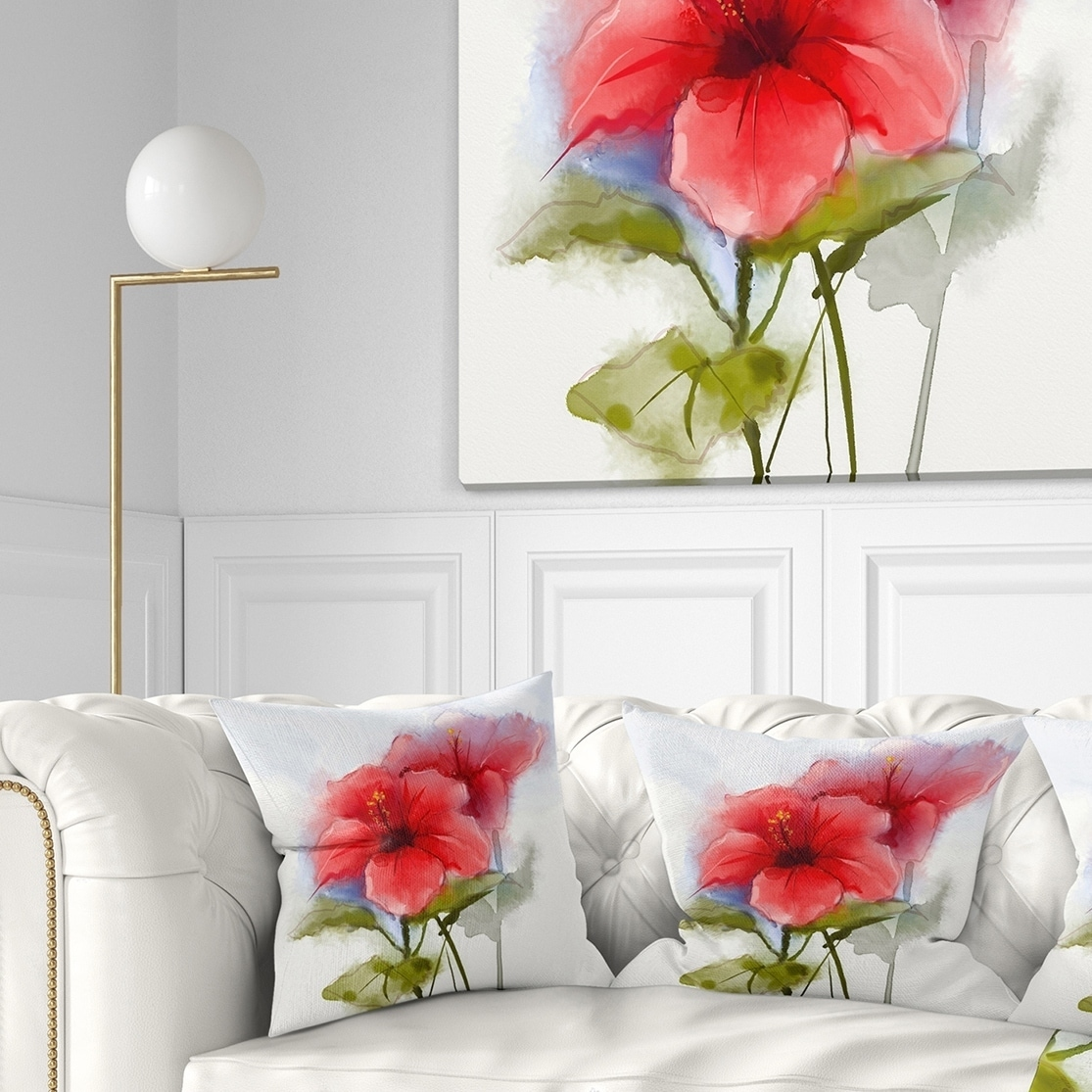 X 20 In Sofa Throw Pillow 12 In Designart Cu13156 12 20 Blooming Red Flower Watercolor Floral Lumbar Cushion Cover For Living Room Throw Pillow Covers Bedding