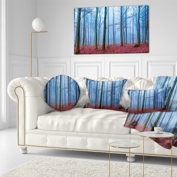 Designart 'Foggy Forest in Blue and Pink Photo' Modern Forest Throw Pillow