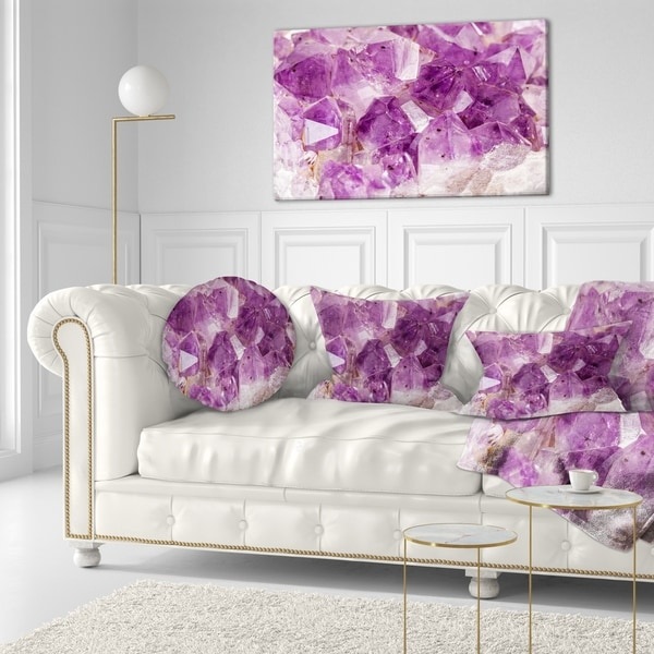 Designart 'Purple Amethyst Macro' Abstract Throw Pillow