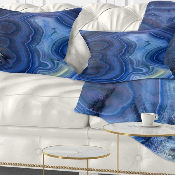 Designart 'Blue Agate Stone Design' Abstract Throw Pillow