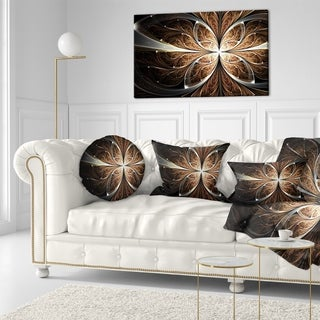 Designart 'Fractal Flower Brown Black Digital Art' Floral Throw Pillow