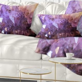 Designart 'Purple White Natural Amethyst Geode' Abstract Throw Pillow