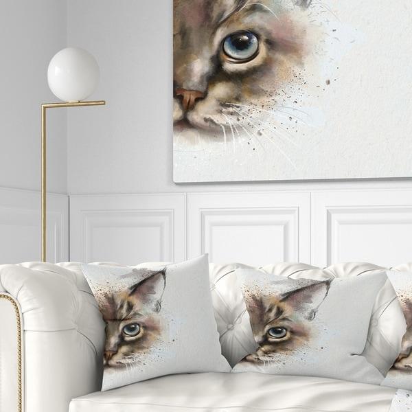 Designart 'Cat Half Face Watercolor' Animal Throw Pillow