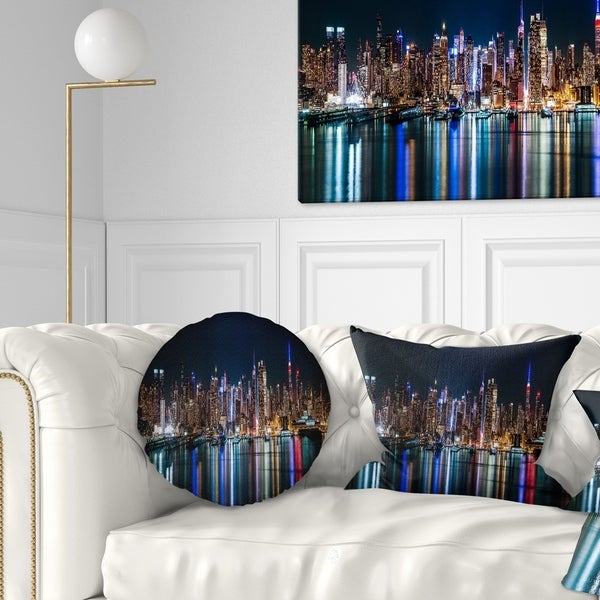 Designart 'New York Midtown Night Panorama' Throw Pillow