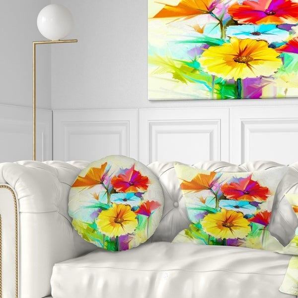 Designart 'Colorful Gerbera Flower Sketch on White' Floral Throw Pillow