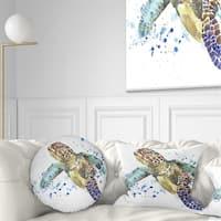 Designart 'Blue Sea Turtle Illustration' Animal Throw Pillow