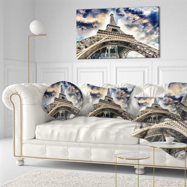 Designart 'The Paris Paris Eiffel TowerView from Ground' Cityscape Throw Pillow