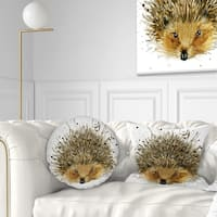 Designart 'Hedgehog Illustration Watercolor' Contemporary Animal Throw Pillow