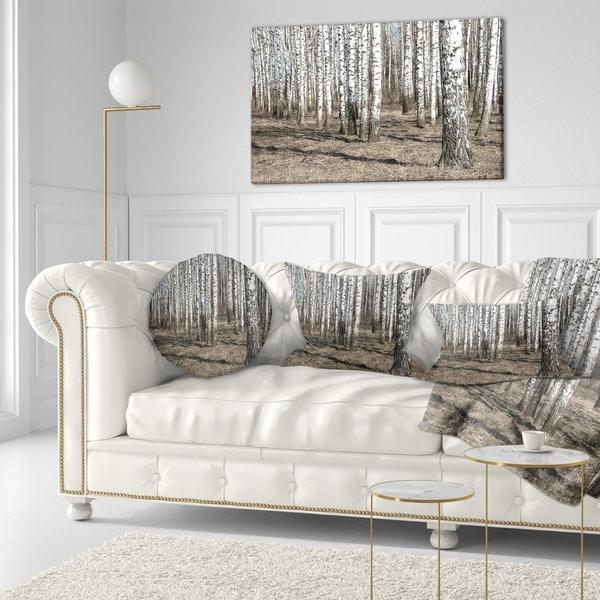 Designart 'Beautiful Dense Birch Forest View' Modern Forest Throw Pillow