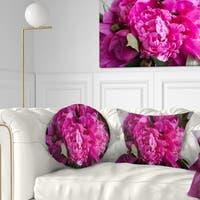 Designart 'Pink Peonies on Wooden Background' Flower Throw Pillow