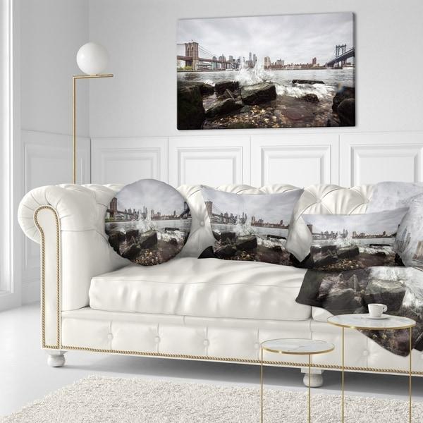 Designart 'Skyline with Brooklyn Manhattan Bridges' Cityscape Throw Pillow
