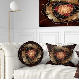 Designart 'Dark Gold Red Fractal Flower Pattern' Floral Throw Pillow