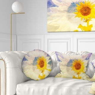 Designart 'Double Exposure Yellow Sunflowers' Floral Throw Pillow