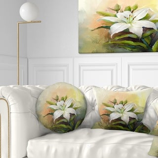 Designart 'White Lily Flower Oil Painting' Floral Throw Pillow