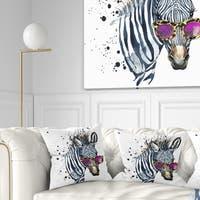 Designart 'Funny Zebra Watercolor' Animal Throw Pillow