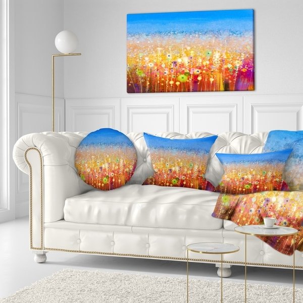 Designart 'Abstract Flower Field Watercolor Painting' Floral Throw Pillow