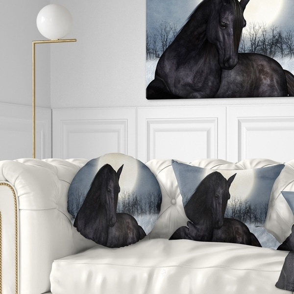 Designart 'Black Horse in Moonlight' Animal Throw Pillow