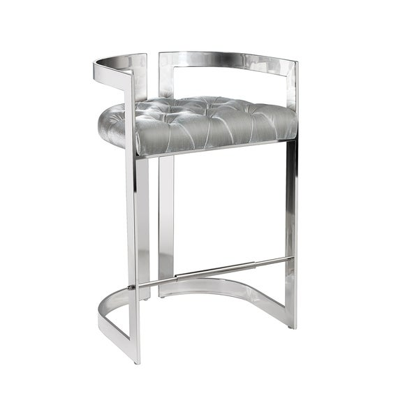 Shop Logan Grey Velvet Upholstered Metal Counter Stool