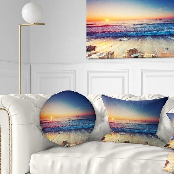 Designart 'Beautiful Sunrise over Blue Sea' Seashore Throw Pillow