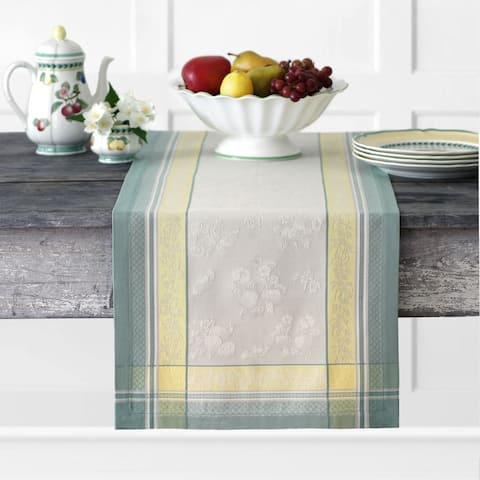 "Villeroy and Boch Fleurence Jacquard Table Runner - 16"" w x 72"" l"
